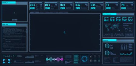 High-tech dashboard in HUD style. Futuristic User Interface screen template. Mockup virtual graphic touch, UI, GUI, HUD. Futuristic interface for presentation, with place for your product. Vector