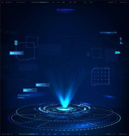 Hologramme futuriste pour la présentation, modèle vectoriel pour votre projet ! Illustration de haute technologie sombre, hologramme abstrait 3D avec interface HUD. Illustration vectorielle