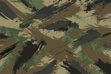 Brush Stroke Seamless Camouflage Print. Pattern Green brown black olive colors forest texture. Fabric and fashion textile paint. Camouflage pattern background. Vector Seamless Camouflage. Vector