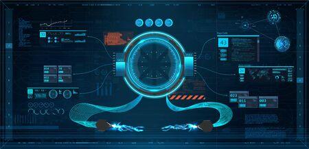 HUD UI Cockpit set. Head up display, Futuristic User Interface set. Sci-Fi for App(Cockpit, Interface, Dashboard, Infographics, Radar, Spaceship, Futuristic Circle, Statistic and Data) Vector HUD