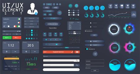 Big set UI, UX, KIT for web design and mobile app with different buttons, icons, charts, bars, menu, search, tabs and other. Template for websites and applications. UI vector elements in Flat style. Illustration