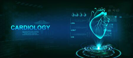 Healthcare Heart hologram, Cardiology technology concept with futuristic interface HUD. Modern medical examination for monitoring the scanning and analysis of heart disease. Vector illustration Illustration