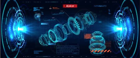 3D turbine hologram in HUD style. Jet engine of airplane, industrial aerospace blueprint. Future engineering concept with infographics, engine statistics and parts of mechanisms in HUD style. Vector