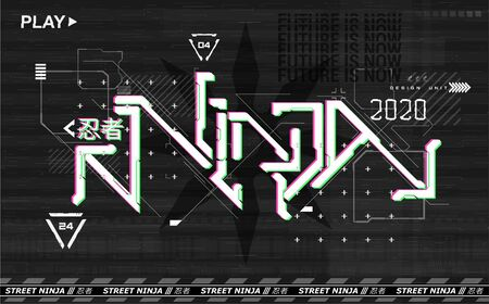 Retrofuturistic Ninja lettering design for t-shirt and merch. Vaporwave and synthwave 80s-90s. Trendy digital poster glitch, HUD cyberpunk interface. Elements design of the future