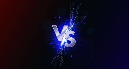 Versus banner with blue sparkling lightning. VS collision of metal letters with sparks and lightning in a red-blue background. Confrontation concept, competition vs match game. Versus battle. Vector