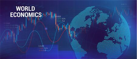 Global economics concept with charts and 3D Earth Globe. Futuristic trading banner. Forex and analog. Financial investment and economic trends. Trade Platform. Vector illustration