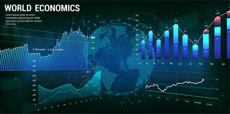 World economics concept with charts and 3D Earth Globe. Futuristic trading banner. Forex market. Financial investment and economic trends. Trade Platform. Vector illustration