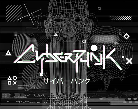 Cyberpunk poster. Hologram Ai in humanoid head with glitch and bag. Horror tech poster. Conceptual image Artificial intelligence, VR tech shapes. Inscription of Japanese Hieroglyphs - Cyberpunk Zdjęcie Seryjne - 142145628