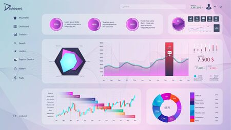 Purple pink dashboard with detailed interface for UI admin panel. Great Business infographic template in flat style. Modern beautiful dashboard, analytic graphics, infographics and diagrams. Vector