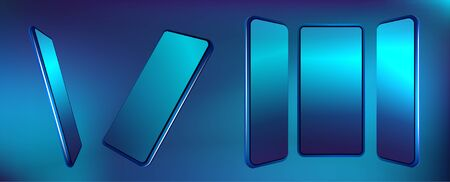 Futuristic smartphones set at different angles. Blue color mockups. Collection mobile phones, generic device. Vector smartphones set. Realistic 3d phones template. Vector illustration