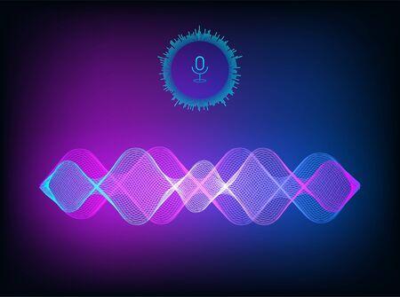 Sound wave, voice assistant concept. Vector illustration sound recognition and voice helper. Vector illustration hi-tech Ai assistant voice for UI, UX, GUI App. Wave flow, equalizer. Vector Illusztráció