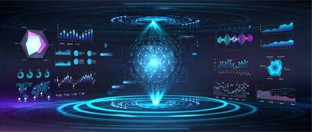 Holograma de globo terráqueo con interfaz gráfica de usuario, interfaz de usuario, HUD. Centro de comando del mapa del mundo futurista. Mapa del mundo 3D en el ciberespacio. Escaneo del globo, elementos sky-fi. Interfaz militar. Ilustración vectorial
