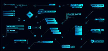 Digital Callouts titles in futuristic style HUD. Modern interface banners for presentation or infographics. Template set info callouts titles. Futuristic elements text bars. Vector illustration Illusztráció