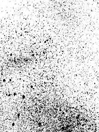Vector drop ink splashes. Grunge texture on white background. Dirty grainy stamp. Black and white spray texture. Vector illustration Illusztráció