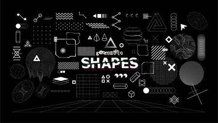 Stylish geometric shapes. Neo memphis design elements for t-shirt and merch print. Abstract collection elements of different shapes and types. Vaporwave style, universal geometric pattern. Vector