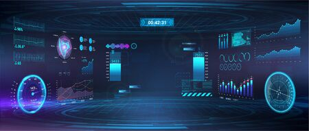 Cyberspace Virtual reality in HUD, GUI style. Futuristic VR design display. Head-up User Interface. Cyberpunk Sky-fi helmet or cockpit dashboard with speedometer, infographics and indicators. Vector
