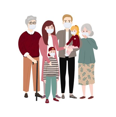 The whole family wearing protective medical mask. Coronavirus protection (Covid-19). Isolated people, family: Man, woman, children and grandparents wearing a surgical mask. Vector illustration