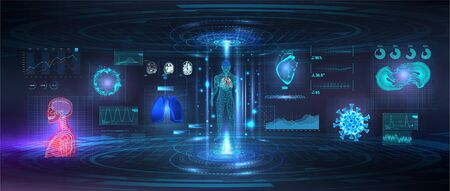 Genetic research, Healthcare examination and human scanning in HUD style. UI for Medical App, Futuristic Medical GUI, HUD interface hologram - Human heart, body, lungs, MRI of the brain and bacteria Illusztráció