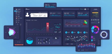 Modern dashboard design, Mockup beautiful and thoughtful admin panel. UI, GUI template (graphic, data, charts, infographics and diagrams) in flat style. Analytics admin dashboard. Vector