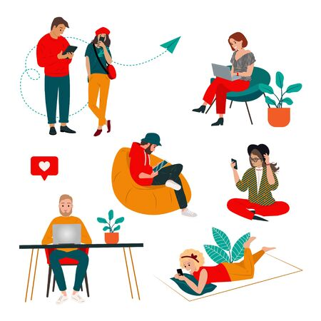 Colorful people set of communication via the Internet, social networking, web site, search friends, messages, video, chat. People work and communicate using the Internet and modern gadgets. Vector