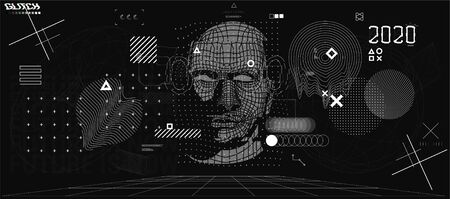 Holographic Ai in humanoid head. Conceptual image Artificial intelligence, Virtual reality, tech shapes, Head Up elements HUD. Biometric technology, Face recognition systems Ai. Cyberpunk VR set