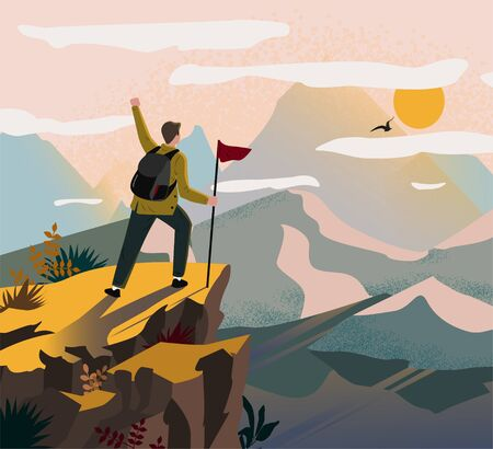 A traveler man on top of a mountain with a backpack and a flag triumphantly raised his hand and looking on valley. The concept of travel, hikes, discoveries, exploration, adventure tourism and travel