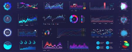 Detailed dashboard infographics template with data and charts, statistics graphs and finance analysis in futuristic style. UI, UX, GUI. Big data (Pie charts, infographics, bars, data panels, diagrams)