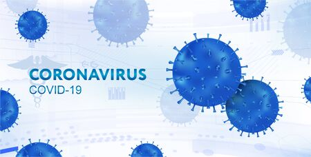 Pandemic Coronavirus, Covid-19 Vector illustration with 3D bacteria on white background. Medical banner microbes Coronavirus. Deadly type of virus Covid-19, healthcare banner. Vector illustration Illusztráció
