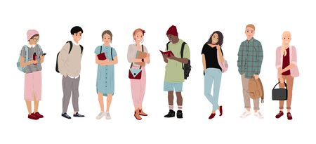 Full-length students, multicultural students in flat style. Boys and girls are holding bags, phones and books. Happy and joyful teens, students. Isolated people. Fashion teens, Vector illustration Illusztráció