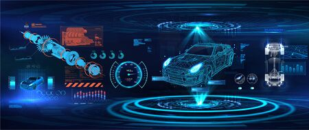Hologram auto in low poly style, wireframe in line. Modern diagnostics in the car service of the future. Automobile infographic, ui, analysis and car condition. HUD, GUI, UI style. Vector