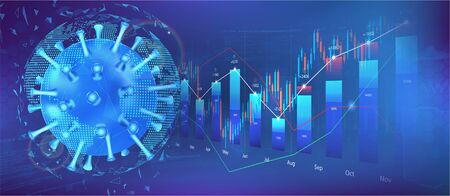 The impact of coronavirus on the stock exchange and the global economy. Covid-19 virus hits market. Shares fall down. Markets plunging. Economic fallout. Vector background Coronavirus and market