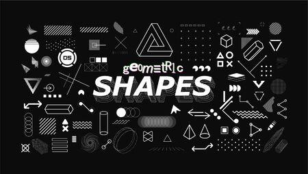 Set of neo memphis geometric shapes. Trendy graphics element for your design. Vaporwave style, universal geometric shapes and elements on dark background. Vector memphis elements set Illusztráció