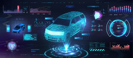 Polygonal Auto Hologram with HUD UI interface. Futuristic car service with scanning auto and data analysis. Dashboard elements and modern interface HUD. Crossover low poly, wireframe in line. Vector Illusztráció