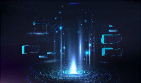 HUD circle hologram for presentation UI, UX, GUI design. Sci-fi dashboard with Futuristic User Interface HUD. Innovation presentation template. Vector FUI holographic base