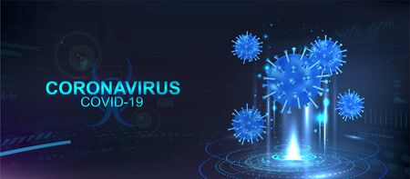 Hologram of Covid-19, Coronavirus bacteria on a blue futuristic background. Deadly type of virus Covid-19, healthcare banner. 3D microbes on dark background. Infectious pathogen virus concept. Vector