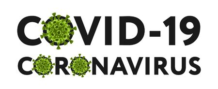 Coronavirus and Covid-19, black text with elements of the green bacteria of the  virus. Text for your design with 3D bacteria, isolated on white background. Vector illustration