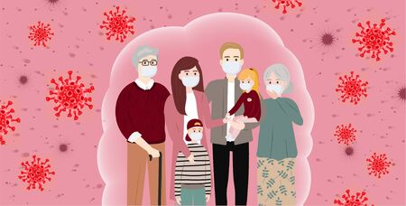 The whole family wearing protective medical mask. Coronavirus protection (Covid-19). Concerned people. Masked people, protection methods concept. Coronavirus infection control. Bacteria in the air