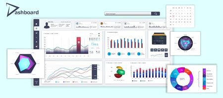 White dashboard with detailed interface for UI admin panel. Business infographic template in flat style. Modern dashboard, analytic graphics, infographics and diagrams. Vector illustration