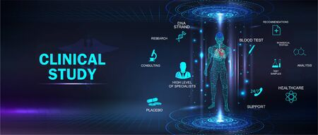 Clinical study, healthcare concept banner with keywords and icons and 3D body hologram. Futuristic examination of human health and proper treatment in HUD style. Sci 3D x-ray. Vector medical banner Illustration