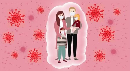 Concerned people, family because of coronavirus (covid-19). Masked people, protection methods concept.  pneumonia vector illustration. Coronavirus infection control. Bacteria in the air. Illusztráció