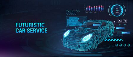 Car service future with HUD interface. Diagnostic auto, with infographics, analysis and statistic. HUD Dashboard, car repair. Automobile user interface. Isometric 3d sport car. Vector illustration