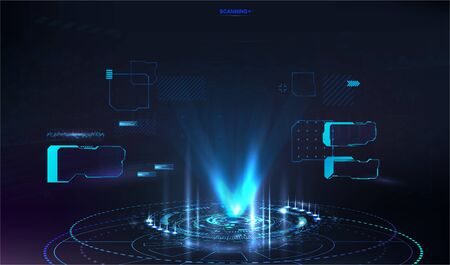 Futuristic hologram for presentation in HUD style. UI, GUI screen design. Vector illustration with Futuristic User Interface and abstract tech elements. Innovation presentation concept. Vector hologram
