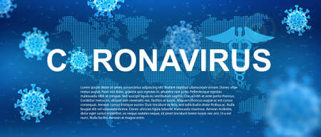 Virus from   Covid-19. Info banner with 3d bacterias and information.