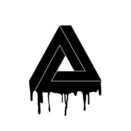 Impossible triangle with infinite continuation. Modern stylish design, the lower part flows down. Stencil of an impossible triangle. Isolated vector illustration.