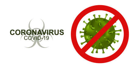 Concept stop virus Covid-19 (Coronavirus). Red text with elements of the green bacteria. Text for your design with 3D bacteria. Vector illustration