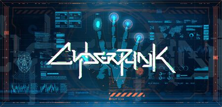 Futuristic cyberpunk poster with elements HUD, GUI, UI. Hi-tech Interface and biometric recognition systems for faces and fingerprints. Open palm with inscription in English and Japanese - Cyberpunk
