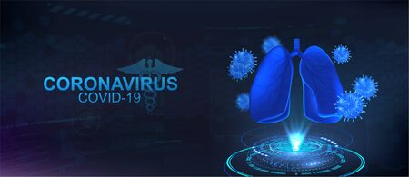 The projection of coronavirus and lungs. The effect of the virus on human health. Covid-19 concept. 3D bacteria and lungs on futuristic background. HUD vector illustration Coronavirus Covid-2019