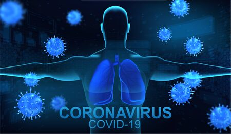 Human lungs and coronavirus concept. Pneumonia and respiratory syndrome(sars) Covid-19. Blue Banner - 3D model of a person with lungs and nearby microbes of the coronavirus. Vector illustration
