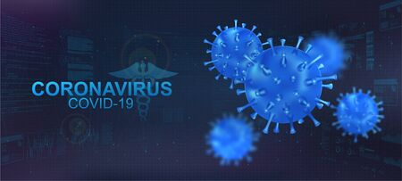 Covid-19 bacteria with blur effect. Coronavirus healthcare banner with 3D Microbe on polygonal futuristic background. Infectious pathogen virus Covid-19. Vector illustration coronavirus concept Иллюстрация
