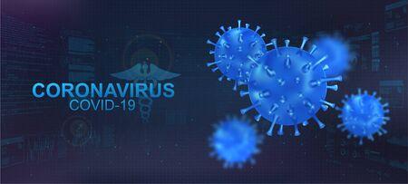Covid-19 bacteria with blur effect. Coronavirus healthcare banner with 3D Microbe on polygonal futuristic background. Infectious pathogen virus Covid-19. Vector illustration coronavirus concept 矢量图像